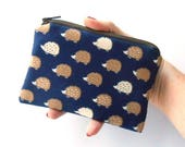 Small Zipper Coin Purse Little Zipper Pouch Japanese Import Navy Hedgehogs ECO Friendly Padded Zippered Pouch NEW