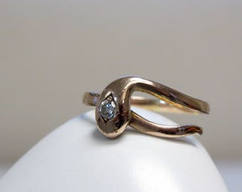 Antique 14k Rose Gold and Diamond Snake Ring Size 7.75 US