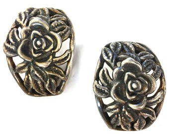 80s Sterling Flower Earrings / Vintage 1980s Israeli Rose Earrings for Pierced Ears Hippie Boho Bohemian Safety Back Modernist Statement