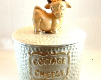 Cottage Cheese White Container Cottage Cheese Crock Lidded Pot Storage Container Cottage Cheese Storage White and Brown Bowl with Lid