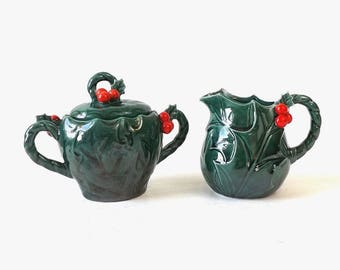 Lefton Holly Creamer & Sugar Set, Vintage Green Christmas Holly Berry Serving Pieces, Mid Century Holiday Tableware