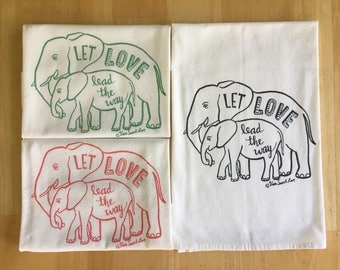 Elephant Love Dish Towel, Hand Printed Tea Towel, Wedding Gift, Hostess Gift, Charcoal Gray, Leaf Green Coral Ink,  Soft Cotton