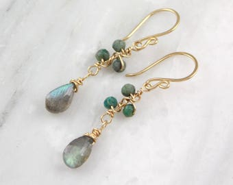 Chrysocolla and Labradorite Gold Wrapped Vine Earrings