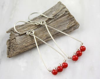 Red Coral Triangle Hoop Earrings