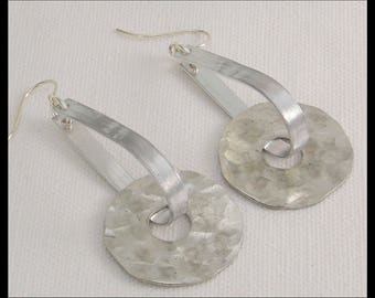 HAMMERED WHEELS - Handforged Hammered Pewter Modern Statement Earrings
