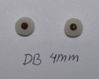 Hand Made Glass Like Eyes 4mm - Dark Brown - for OOAK Art Dolls DB-4mm