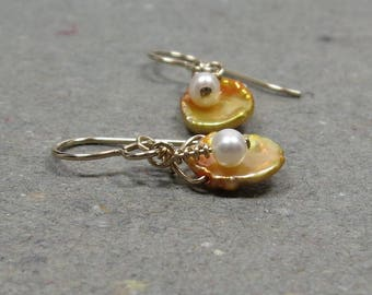 Gold Keshi Pearl Earrings White Freshwater Pearls Gold Earrings Gift for Her Gift for Girlfriend
