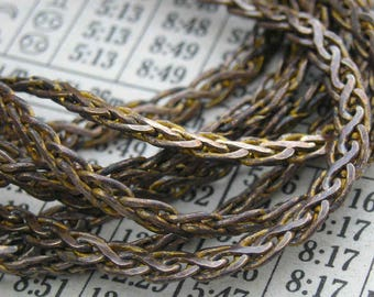 Lovely 1950s French weave vintage brass chain..6 feet