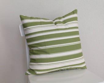 "Couch throw pillow Cover, Invisible zipper, closure, Green stripe. 18"" square, Home decor, cushion, Cream, off white, home dec fabric"
