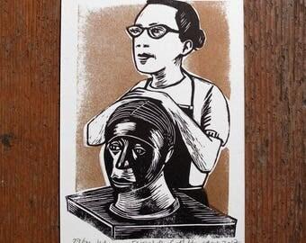 Elizabeth Catlett linocut letterpress portrait