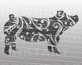 Fancy Decorative Ornate Show Pig SVG File,Stockshow SVG -Commercial & Personal Use- Vector Art for Cricut,Silhouette Cameo,iron on vinyl