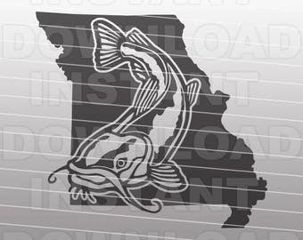 Missouri Catfish Fishing SVG File,Channel Catfish SVG,Fisherman svg -Vector Art for Commercial & Personal Use- Silhouette,Cricut,Cameo,Vinyl