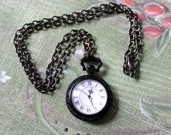 Pocket Watch Cabochon Black Necklace with Moonstone Bead - Victorian Vintage Style Goth