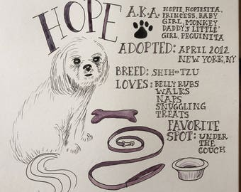Custom Pet Biography Watercolor Portrait