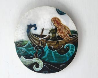 She never looked back, gifts for her, dreamer, ocean adventure,  waves, beach gift, one of a kind Mounted Print, round wood slice