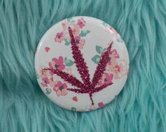Magenta Glitter Pressed Cannabis Leaf Button