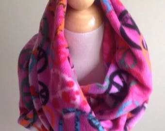 "Infinity Scarf-Fleece Peace Signs Dark Pink-6"" by 56""-Handmade USA-Tween Ladies"