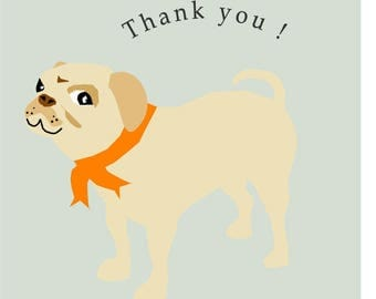 note card pug thank you card