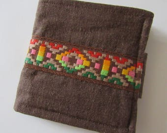 Hemp & Vintage Woven Ribbon Fabric Scrappy Wallet * Holds 8 cards and paper money * twilightdance