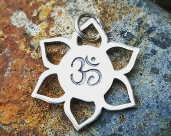 ON SALE TODAY Om Lotus Flower Charm - Sterling Silver - Necklace