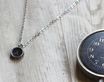 Initial A Necklace, Gift Ideas For Girlfriends, Vintage Typewriter Key