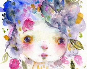 BABY ROSE - mixed media art print by Mindy Lacefield