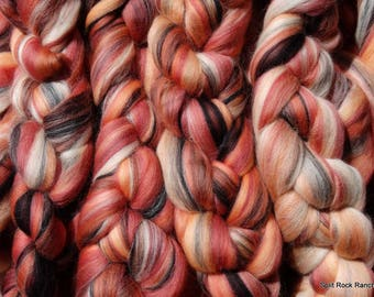 FOXY New Custom Fiber Blend - 100% Merino to Spin, Felt, Fiber Art - Rust, Orange, Peach, Charcoal, Cream