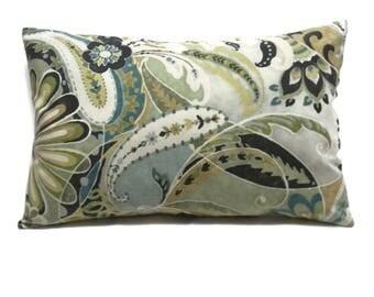 Decorative Lumbar Pillow Cover Paisley Design Green Brown Gray Grey Blue Toss Throw Accent 12x18 inch  x