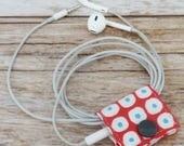 READY TO SHIP - Fabric Cable iPhone Cord Holder Earphone Earbud Holder Cable Holder Cable Cord Organizer Organiser -  Cobble Stone Red/Aqua