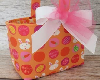 READY TO SHIP - Easter Fabric Candy Egg Hunt Basket Bucket Storage Container Bin - Hippity Hop Bunny Fabric