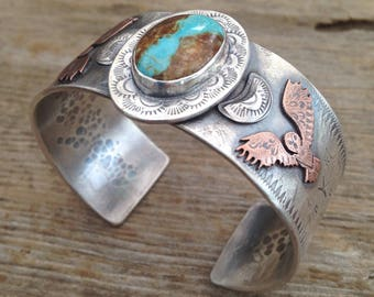 Wide Sterling and #8 Mine Turquoise Southwestern Style Cuff Bracelet