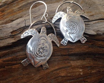 Sterling Silver Tribal Style SeaTurtle Dangle Earrings