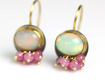 Solid Ethiopian Opal Dangle Earrings with Pink Sapphire Clusters, 22k, 18k Gold and Silver