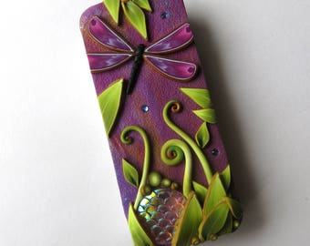 Dragonfly Garden Slide Top Tin, Sewing Pin Box Polymer Clay Covered Tin, Magnetic Needle Case