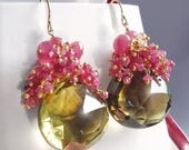 CLEARANCE 40% OFF 14k Solid Gold Hot Pink Tourmaline Earrings with Sapphires, Bi-color Quartz and Citrine