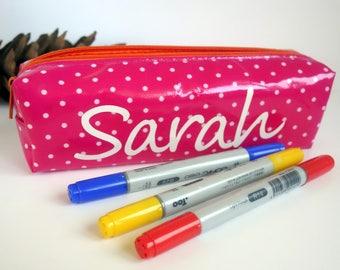 Stocking filler/stocking stuffer Personalised pencil case with name Colorful girls coworker gift secret Santa under 10. Pink/white polka dot