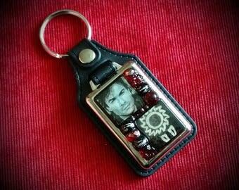 Vampire Diaries. Damon Salvatore Key Fob. Mosaic, Metal and Faux Leather. Ian Somerhalder
