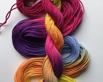 "Size 3 ""Afternoon Mix"" hand dyed thread 6 cord cordonnet tatting crochet cotton"