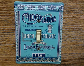 Vintage Blue Kitchen Decor Light Switch Cover Switchplate Made From An Old Denkel Bros Chocolatina Lunch Chocolate Tin Switchplates SP-0355