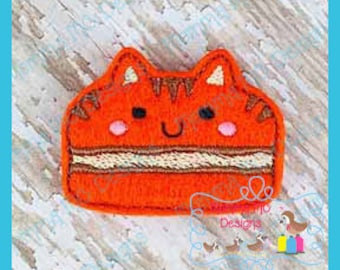 Cat Macaroon Feltie Machine Embroidery Digital File