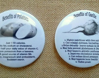"Nutrition, Round Fridge Magnets, 3"", Set of TWO: Benefits of Potatoes, Benefits of Garlic, Original Pencil Art, Health, Healing Foods"