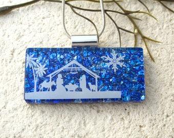 Nativity Scene, Cobalt Blue Necklace, Fused Glass Jewelry,Nativity Necklace, Dichroic Jewelry, Manger Scene, ccvalenzo, 080617p104