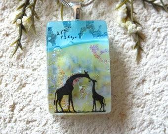 Petite Mother & Baby Giraffe, Giraffe Necklace, Dichroic Jewelry, Dichroic Pendant, Fused Glass Jewelry,ccvalenzo, OOAK Jewelry, 112117p100