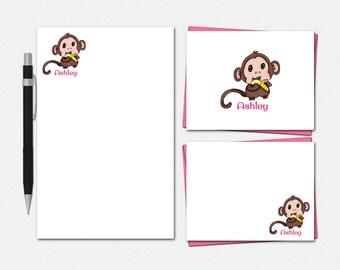 Baby Monkey Stationery Set - Personalized Baby Monkey Stationery - Personalised Stationary - Personalized Baby Monkey Stationery for Kids