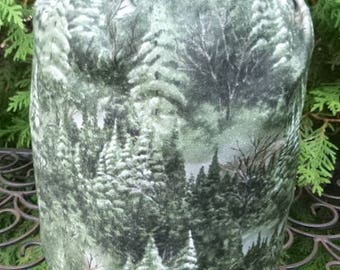 Trees drawstring bag, WIP bag, knitting project bag, Green Forest, Suebee