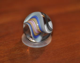 Medium Round Paperweight with Blue, Peach, Pink, Green, and White Swirls Cuneo Furnace