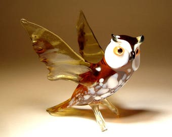 Blown Glass Figurine Art  Bird White Brown OWL with Open Wings