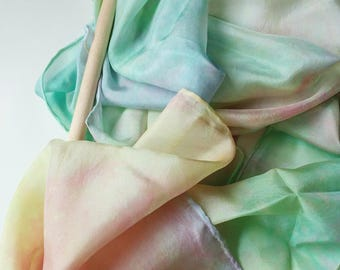 Playsilk Streamer and Wand Natural Toy : Twirligig Pastel Rainbow (Ready to Ship)