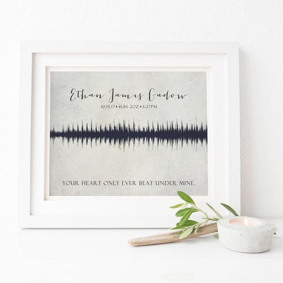 Baby Heartbeat Soundwave Print - Personalized Memorial Gift with Actual Soundwave - Miscarriage, Infant Loss, Stillbirth Stillborn Gift