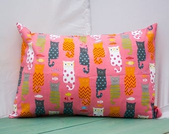 Cats with Glasses Pink Pillowcase - fits 13 x 18 or 12 x 18 Travel or Toddler Pillow